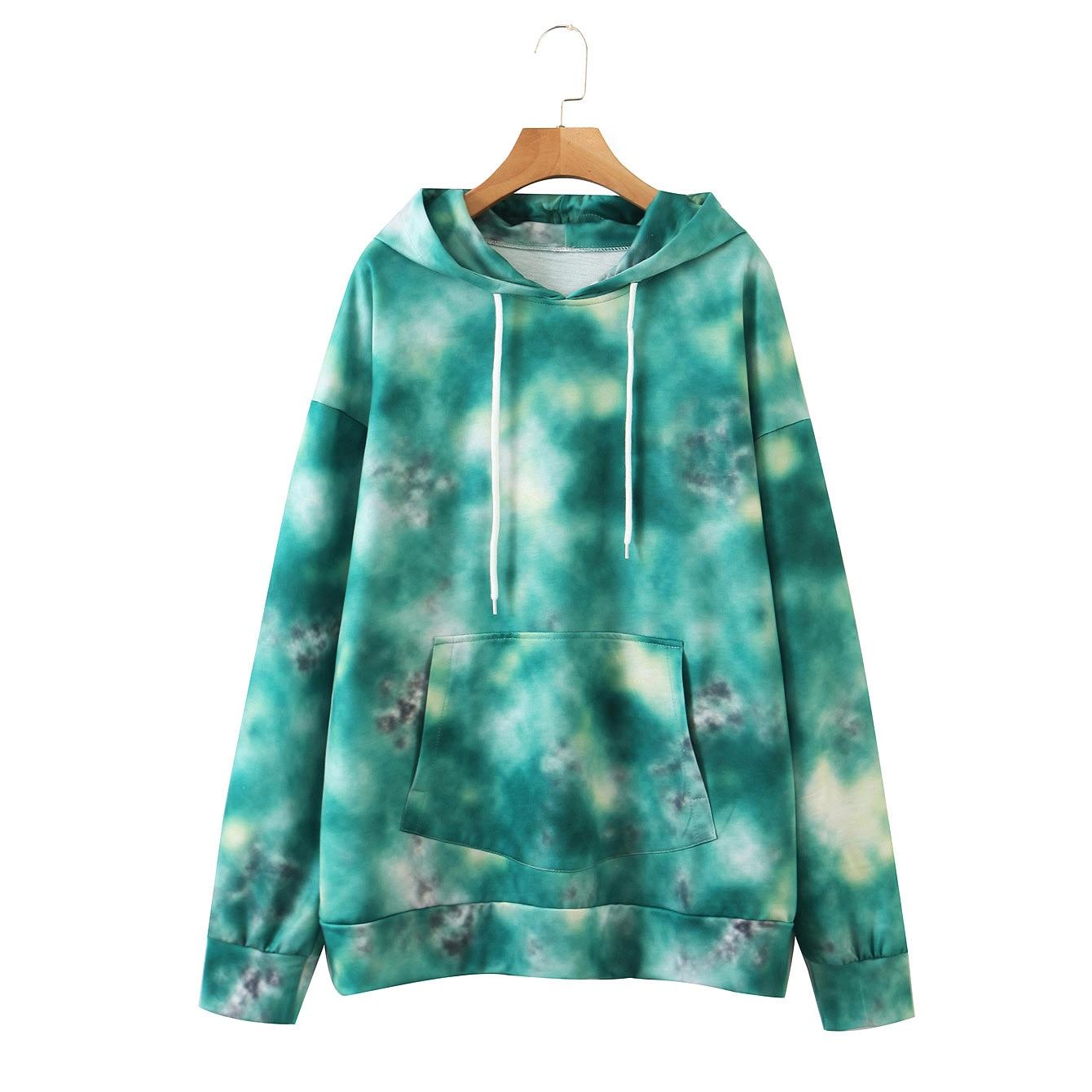 Wixra Womens Tie-dye Sweatshirts Femme New Fashion Hot Hoodies Pocket Long Sleeve Autumn Winter Casual Streetwear Tops 12