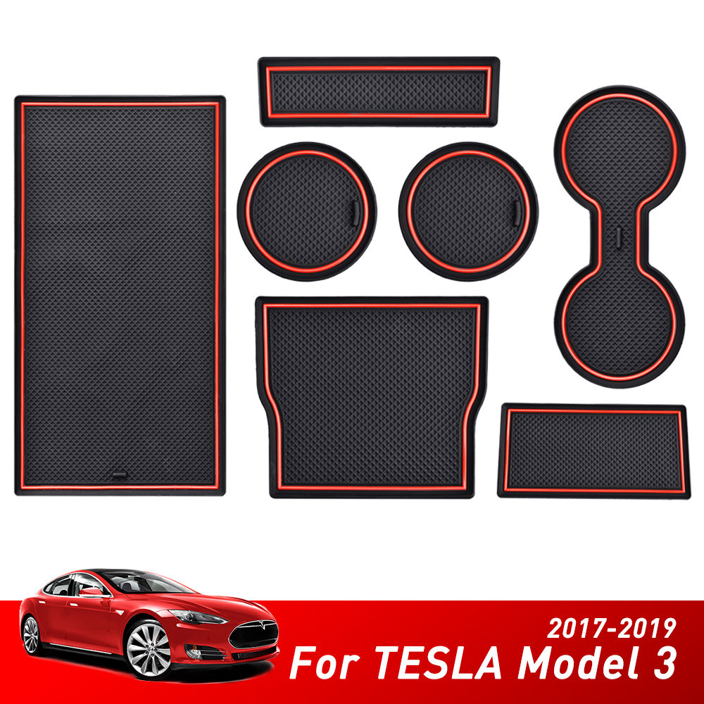 7Pcs For Tesla Model 3 Accessories Car 2017 2018 2019 Auto Console Wrap Mat Non-Slip Gate Slot Center Protective Cup Holder Pads
