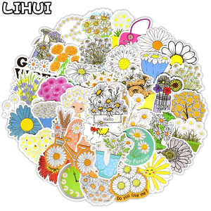 50 PCS Daisy Stickers Cute Flower Anime Stickers for Laptop Skateboard Guitar Luggage Bicycle Motor Car Decal Waterproof Sticker(China)