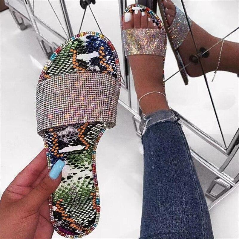 Hot Women's Platform Sandals Leopard Snake Print Slip-On Outside Slippers Ladies Cute Flat Buckle Slippers Women's Sandals