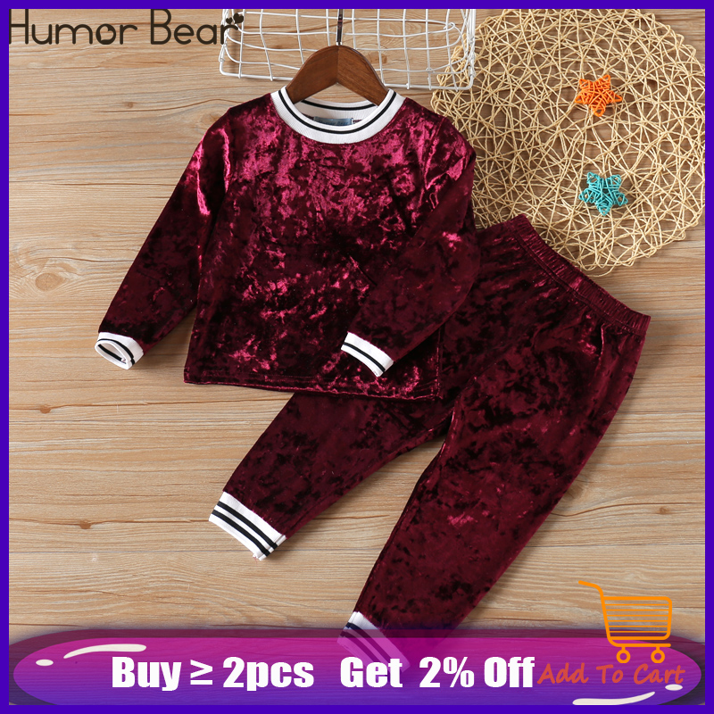 Humor Bear NEW Autumn Baby Girl Clothes Clothing Sets Stripe Velvet Long-sleeved Top+ Pants 2PCS Christmas Outfits Girls Suits