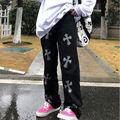Женские уличные брюки с перекрестным принтом, прямые широкие брюки-трубы для мужчин и женщин, повседневные уличные брюки в американском сти...