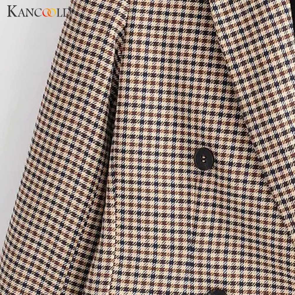 2019 Fashion Plaid damski płaszcz żakiet przycisk retro krata marynarkę z naramiennikami marynarka damska casualowa marynarka