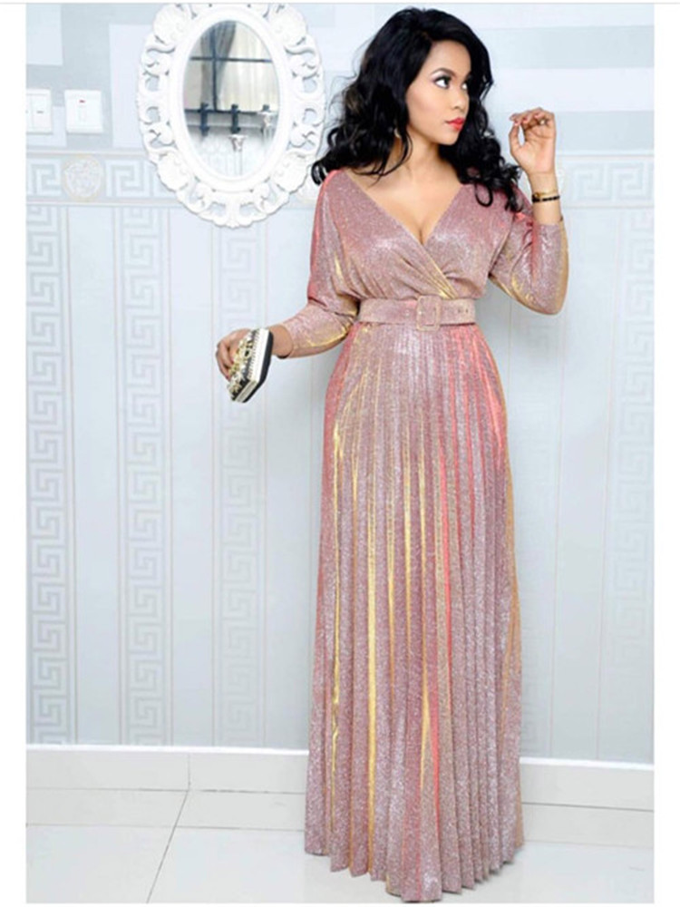2020 Reflective Long Dresses Women Party Night Sexy V Neck Elegant Belt Glitter Maxi Pink Pleated Dress Vestidos Robe Femme