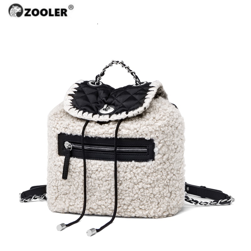 2019 new Genuine Leather bag women Lampwool backpacks elegant soft school bag  white travel tote bags high quality Backpack New