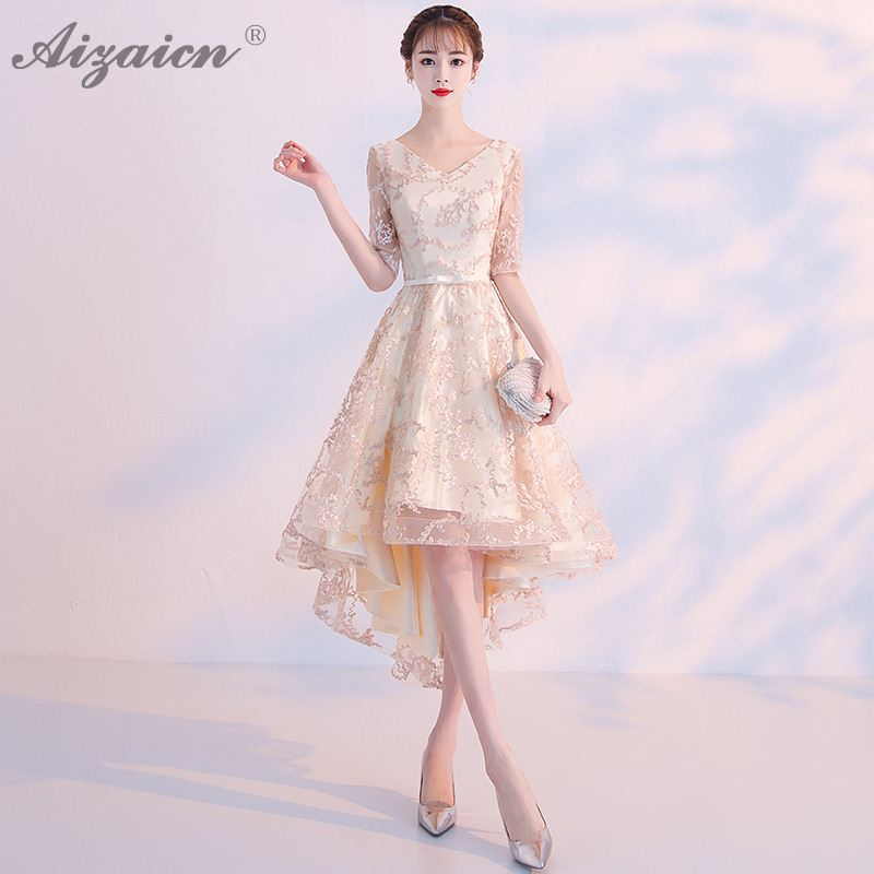Summer Lace Irregular Dresses Qi Pao Women Chinese Evening Dress Cheongsam China Champagne Color Vintage Gown Qipao Promotion
