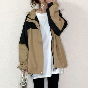 Casual Spring Women Jacket Tops 2020 Korean Janpan Zipper Long Sleeve Outwear Outfits  Color Block Female Jackets new fashion women female korean short type long sleeve slim motor zipper leather jackets coats