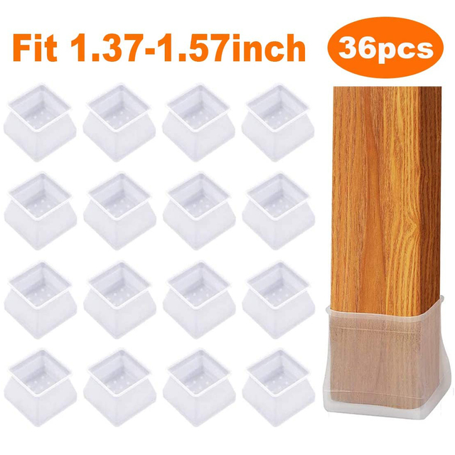 36Pcs Chair Cover Leg Caps Silicone Floor Protector Home Furniture Table Feet Cover Protection Mat Stool Mute Table Leg Caps 1