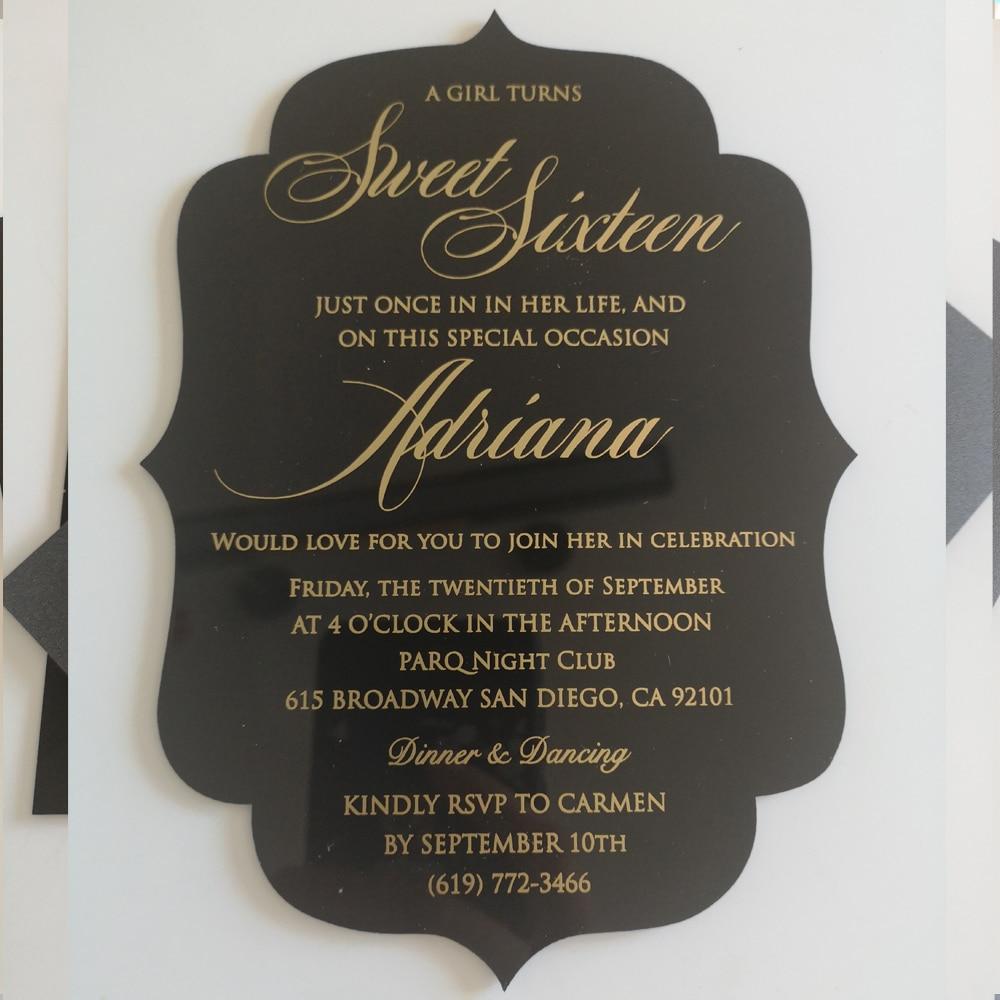 free design custom shape gold foil acrylic card wedding invitation card  with pocket envelope,black acrylic card with gold foil Cards & Invitations   - AliExpress