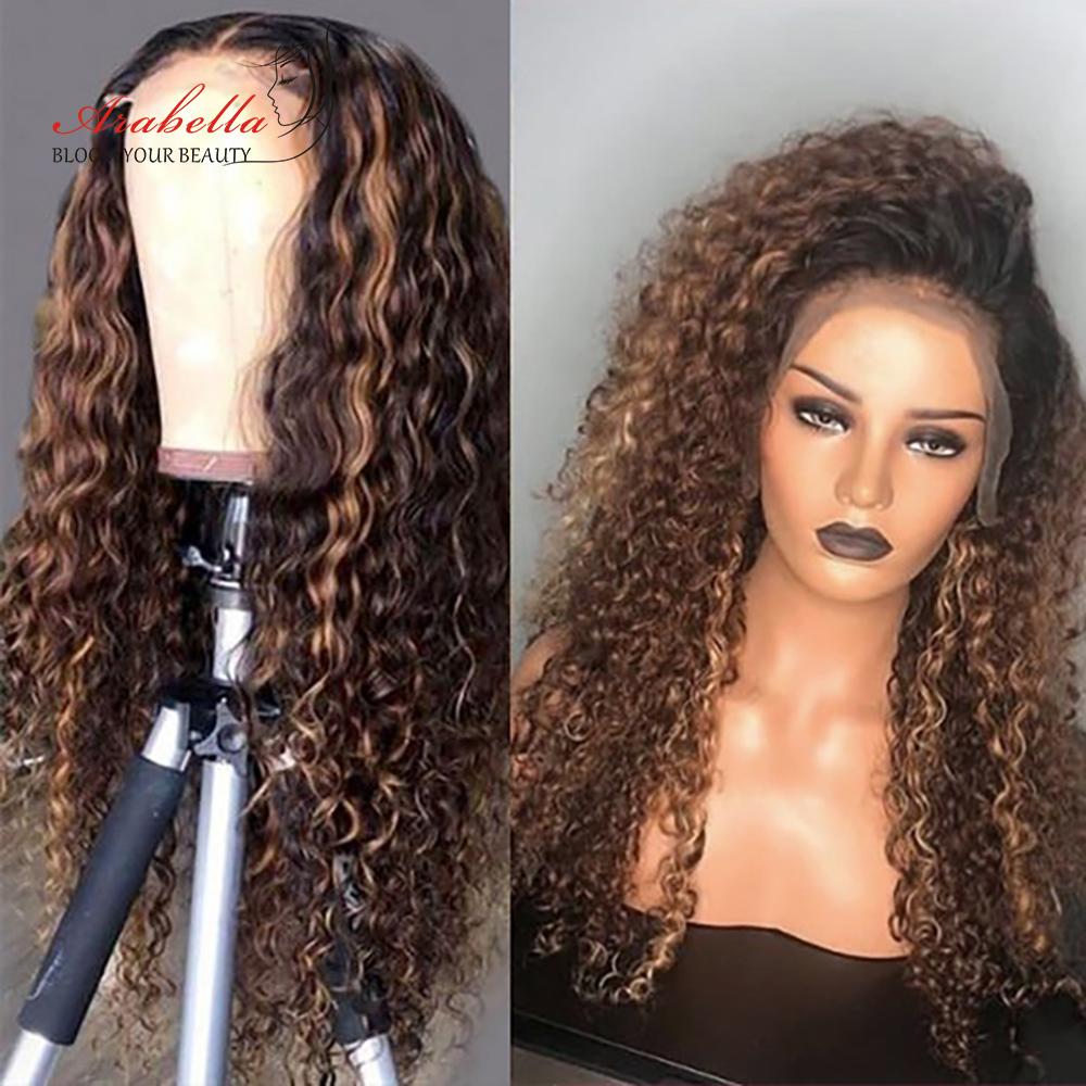 Water Wave Wig Highlight Lace Frontal Wig 100%  Wigs With Baby Hair Arabella  Hair Pre plucked Lace Closure Wig 4