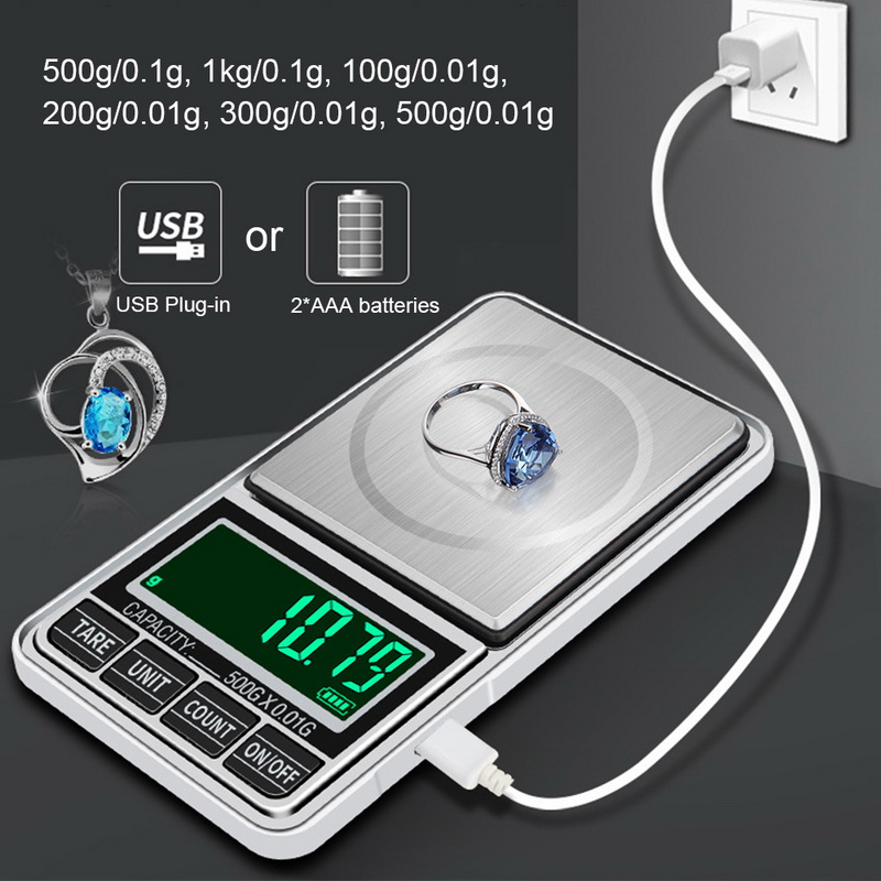 Mini Jewelry Scale USB Charging Pocket Digital Scales 100g/200g/300g/500g 0.01g Precision Electronic Balance LCD Weight Scale