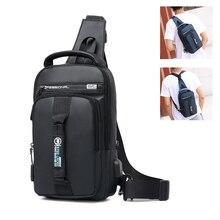 العمل حقائب كروسبودي USB شحن دراجة الصدر حزمة رحلة قصيرة رسول حقيبة صدر للرجال طارد المياه حقيبة كتف الذكور