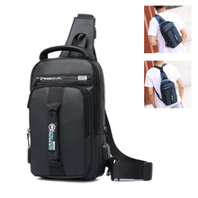 Work Crossbody Bags USB Charging Bicycle Chest Pack Short Trip Messengers Chest Bag Water Repellent Shoulder Bag Male