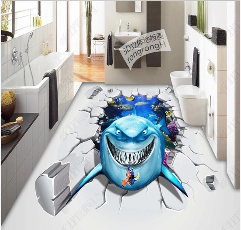 3d Pvc Flooring Custom Self Adhesive Vinyl Wallpaper Sea World Shark Living Room Home Decor Photo Wallpaper For Walls 3d Wallpapers Aliexpress