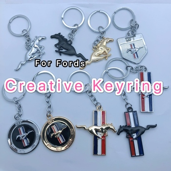 3D Car Metal Keychain Running Horse Emblem Badge keyring Key Chain for Ford Mustang Shelby GT ST 350 500 Cobra Car Styling image