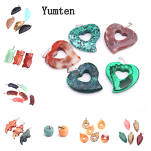 цена на Yumten Heart Gem Pendant Love Shape Charms Necklace Power Crystal Jewelry Fashion Women Rope Chain Natural Stone Accessories