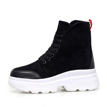 Купить с кэшбэком Winter Boots 2019 Women Boots Wedge Ankle Boots Women Shoes Black Fashion Ladies Shoes Leather Boots   5#24D50