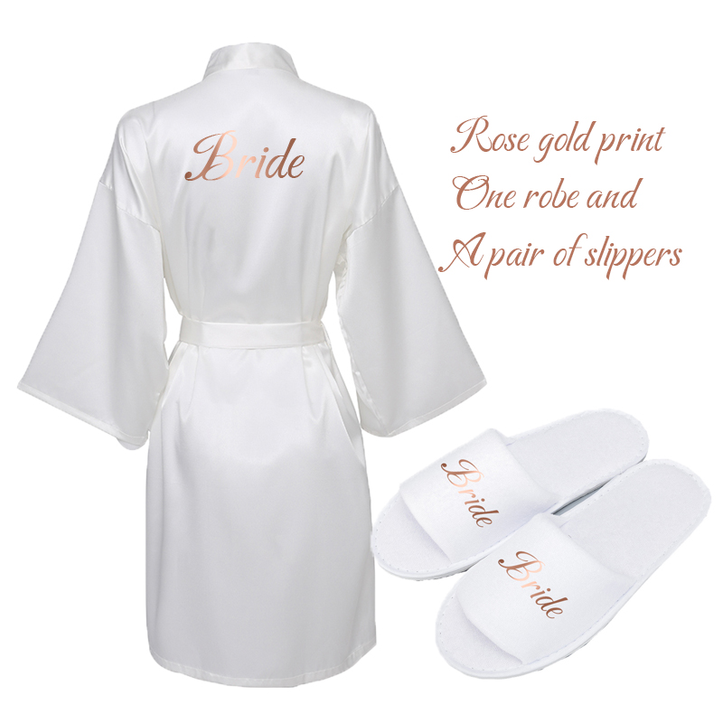 Owiter 2019 White Satin Silk Robe & Slippers Wedding Robe Bride Bridesmaid Robes Dressing Women Robes Party Gifts Gown Bathrobe