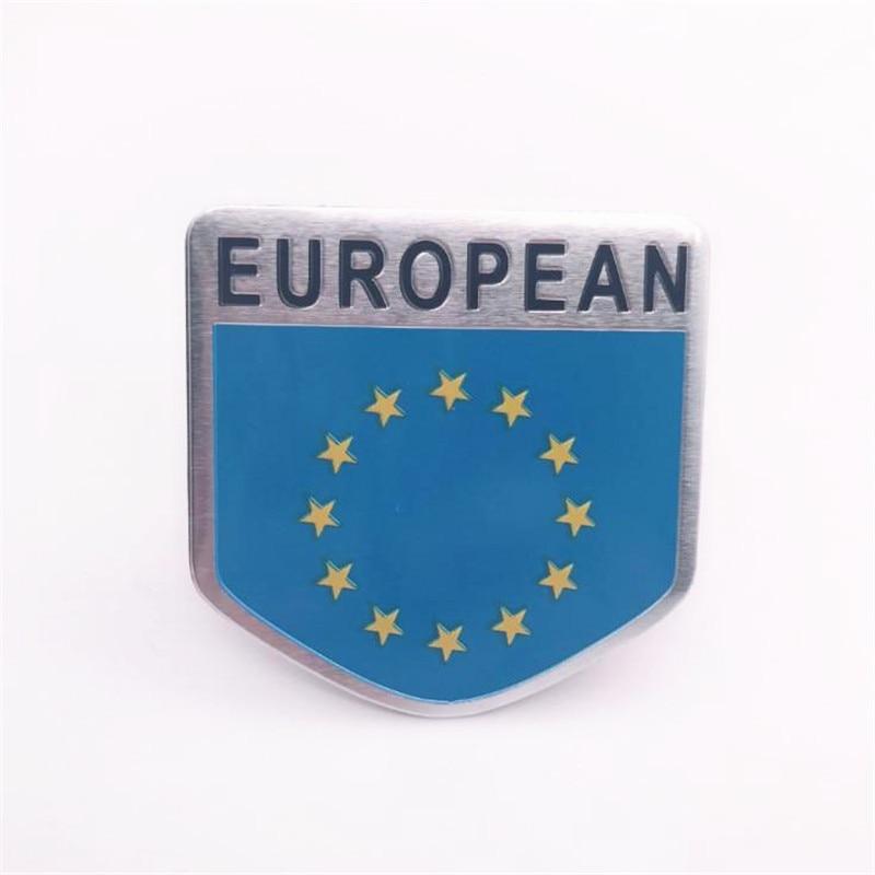Aluminum Alloy Shield Styling EU Europe Flag Emblem Decals Car Trunks Decor European Flags Stickers 5x5cm