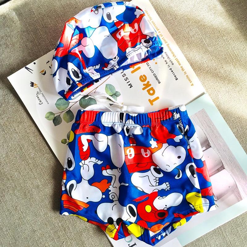 2020 Cartoon Dog Boy's Girl's Swimwear Split Swimwear Gives Swimming Cap Cute Cartoon Comfortable Swimwear Baby Boy Clothes