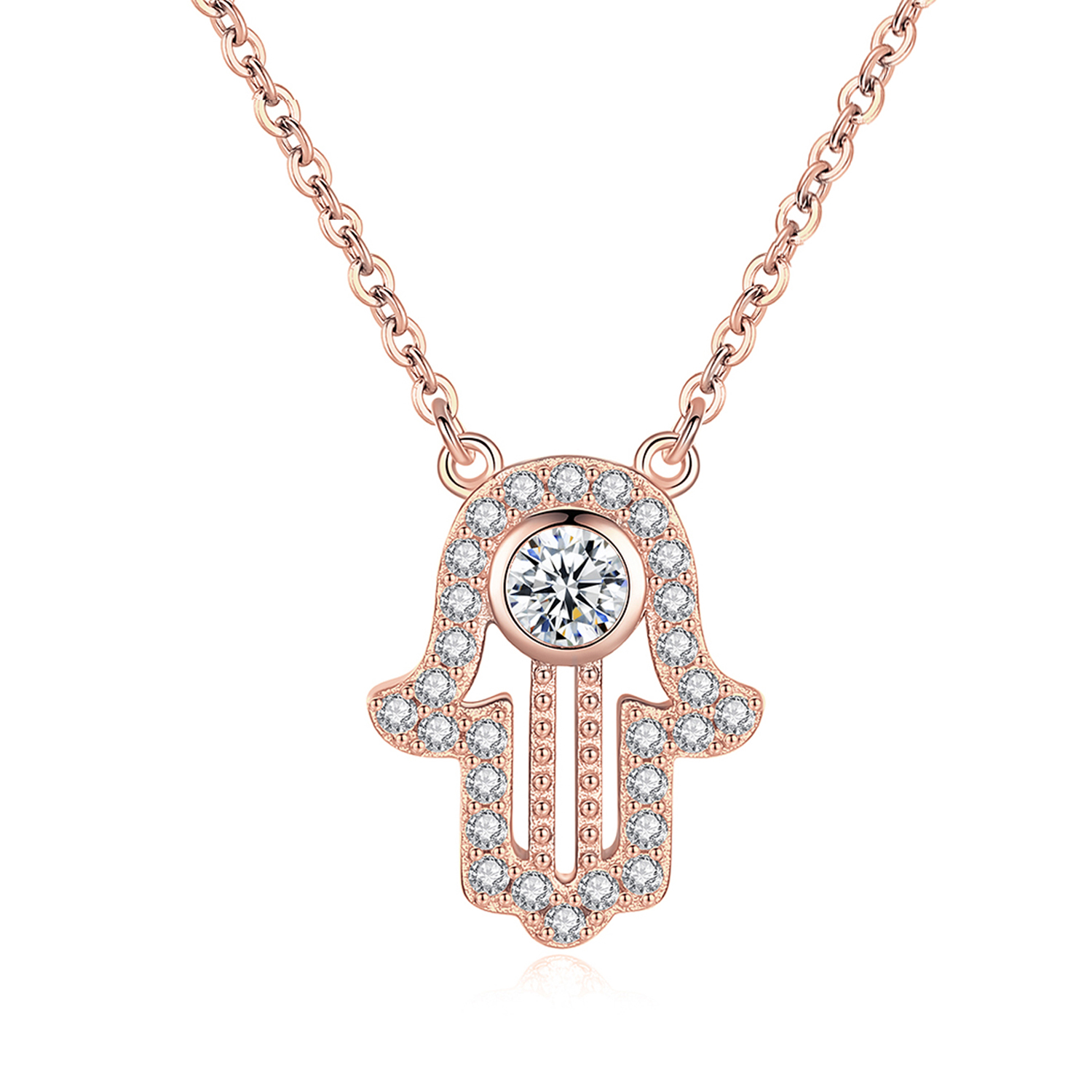 Image 3 - TONGZHE 925 sterling Silver Hand Hamsa Necklace Women Lucky Fatima Link Chain Long Initial Necklace Turkey Jewelry 2019 Choker-in Pendant Necklaces from Jewelry & Accessories