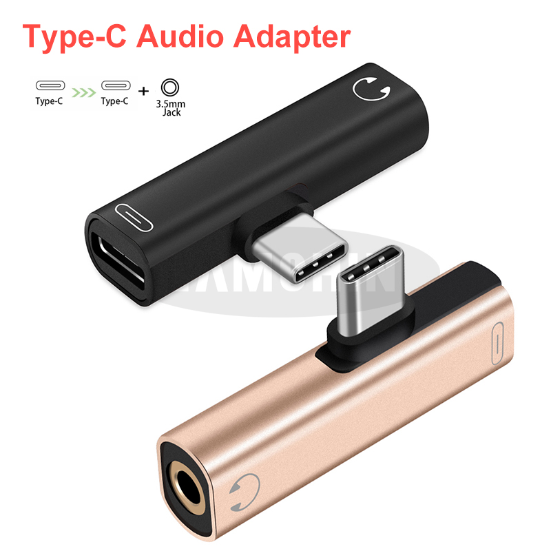Type C To TypeC Type-C To 3.5mm Jack Headphone Cable Usb C Charging Adapter For Huawei Samsung 2 In 1 Mini Type C Audio Adapter