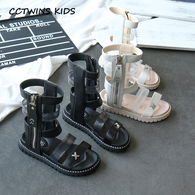 CCTWINS Kids Shoes 2020 Summer Children Fashion High Gladiator Sandals Baby Girls Fashion Shoes Toddler Rhinestone Flat BG176