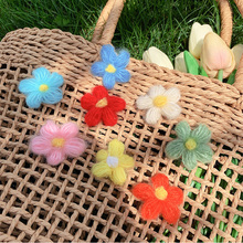 New Fashion Sun flower Woven Hair Clip Mohair Hand-Coloured Hairpins Sweet Girl Style Ornament With Duckbilled Barrette J40