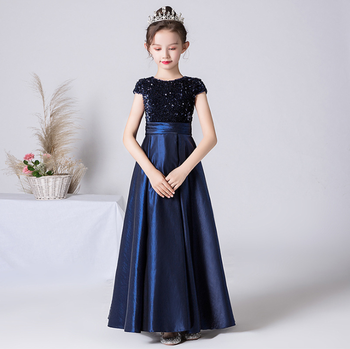 Navy Blue Flower Girl Junior Bridesmaid Dresses Satin Sequin Girls Formal Princess Gown Party Dress For First Communion