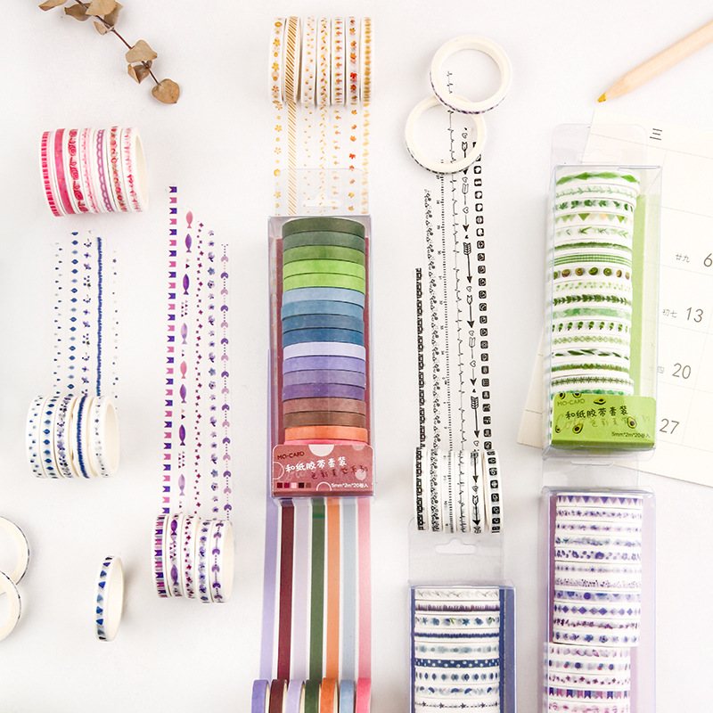 20pcs/pack Multi-color Washi Tape Scrapbooking Decorative Adhesive Tapes Paper Japanese Stationery Sticker 3