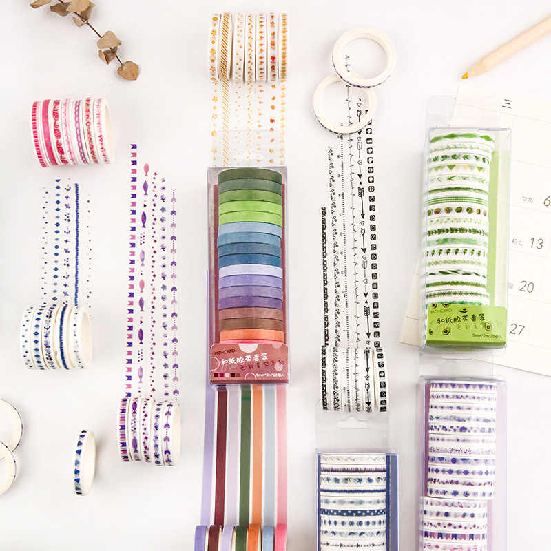20 pièces/paquet ruban Washi multicolore Scrapbooking rubans adhésifs décoratifs papier autocollant de papeterie japonais