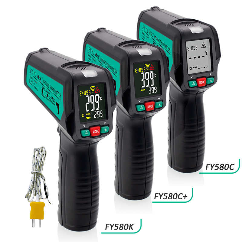 Non-Contact Thermometer Met K Probe Lcd Ir Laser Infrarood Digitale Thermometer Gun Termometro Hygrometer Pyrometer