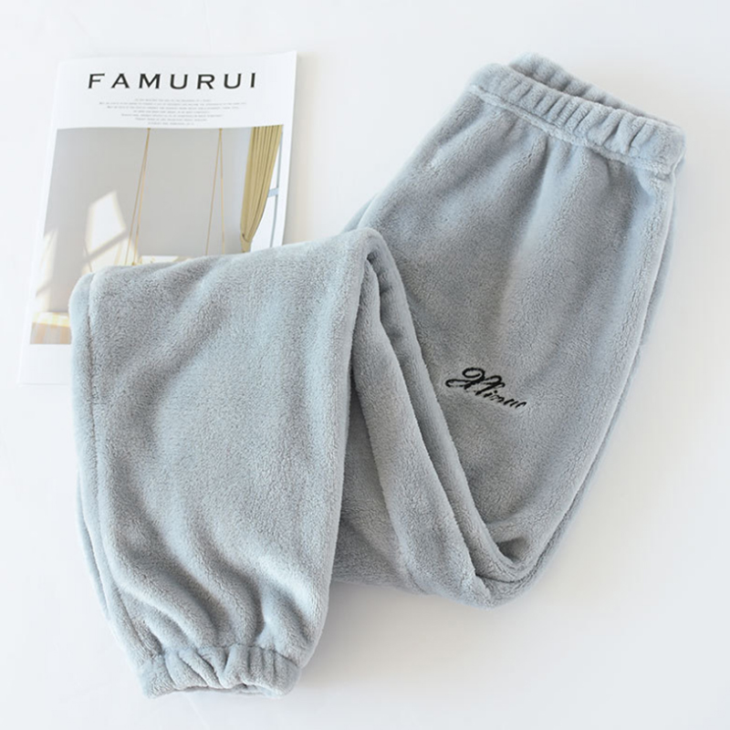 Male winter flannel pajama pants thickening coral fleece mink fleece thermal plus size solid rububer band sleep bottom trousers