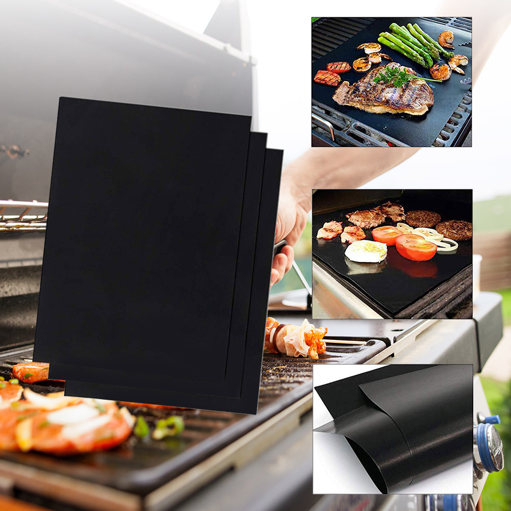 Outdoor Picnic BBQ Grill Mat Reusable Non-stick Heat Resistance Barbecue Baking Sheet Pad Safety Oven Steamer Pizza Baking Mats