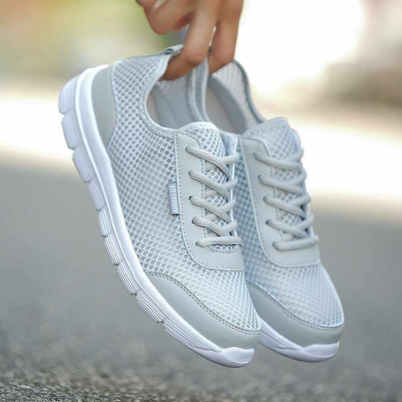 Новая дышащая мужская обувь повседневные модные летние кроссовки легкая спортивная мужская обувь из сетчатого материала Большие размеры 5-13 35-47, черный и белый цвета