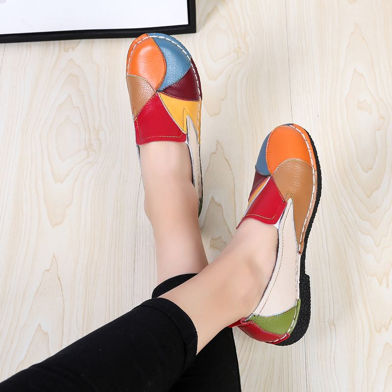 MORAZORA Plus size 35-44 New genuine leather shoes woman mixed colors casual women flats fashion spring summer lady flat shoes 1