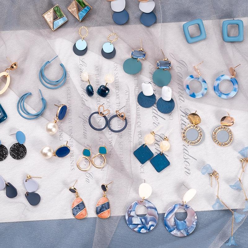 Корейские синие геометрические акриловые серьги-капли из смолы для женщин массивные круглые квадратные висячие серьги 2020 модные Brincos Ювели...