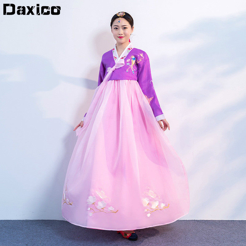 2020 Embroidery Traditional Hanbok Dress Women Orthodox Court Palace Wedding Clothing Korean Ancient Princess Dance Dresses