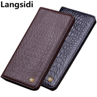 Full grain genuine leather magnetic flip cover case for Huawei P Smart Z/Huawei P Smart phone case standing leather cover funda