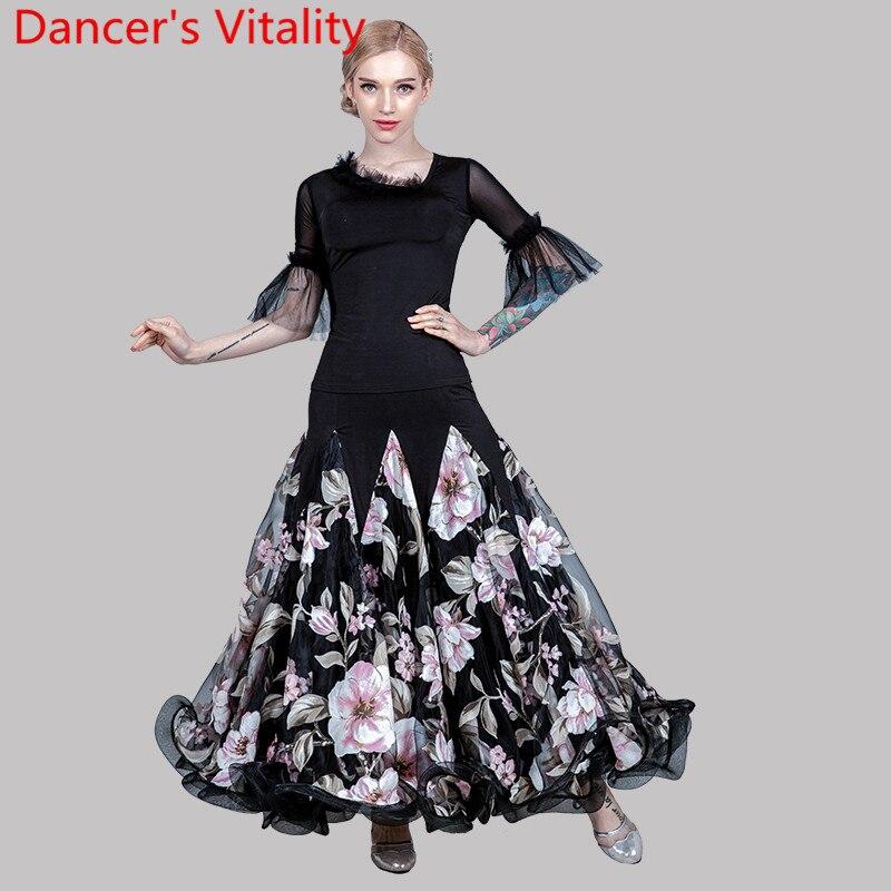 Women Modern Dance Wear Cut Out Flared Sleeve Top Fishbone Skirt Modern Ballroom National Standard Waltz Dancing Clothes