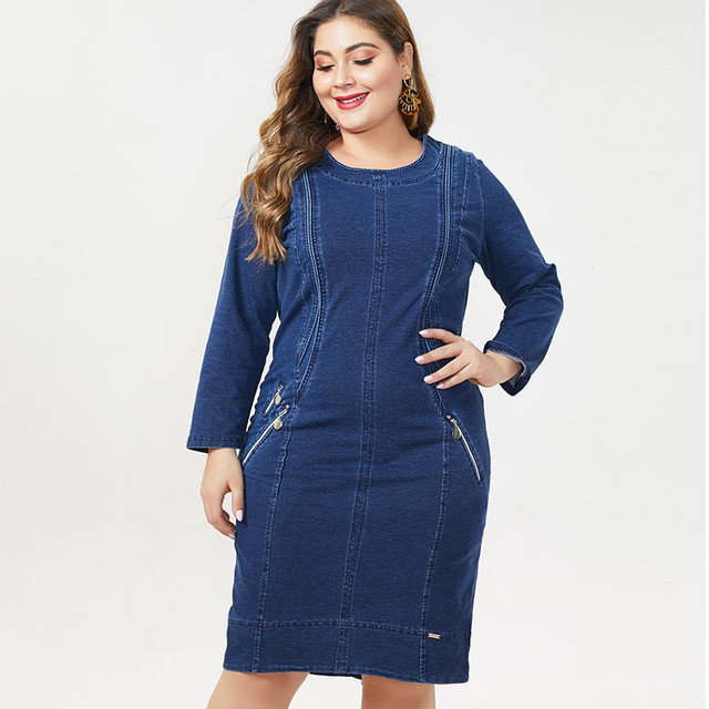MK 2019 autumn winter  womens Plus Size denim dress fashion Ladies femal Vintage midi dresses woman party night