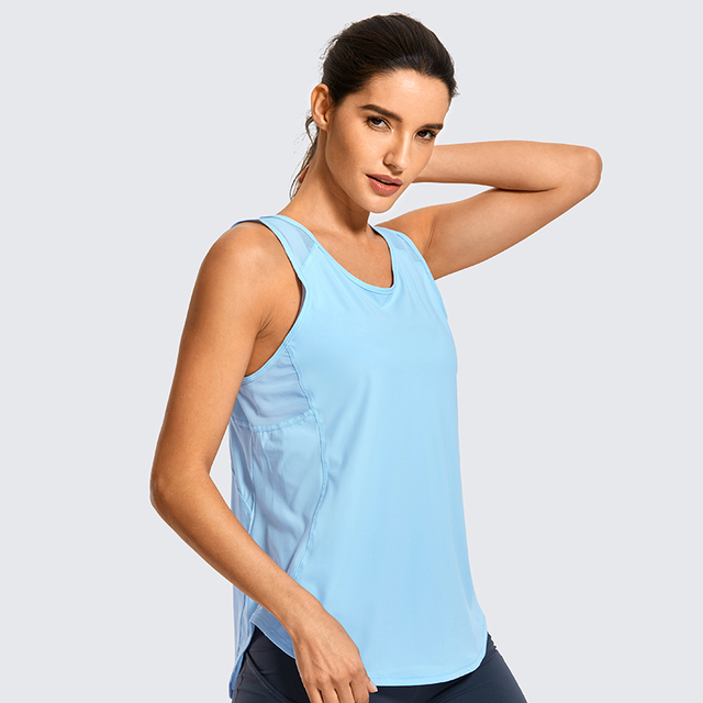 SYROKAN Women's Activewear Lightweight Mesh Workout Tank Top Running Sport Shirt 4