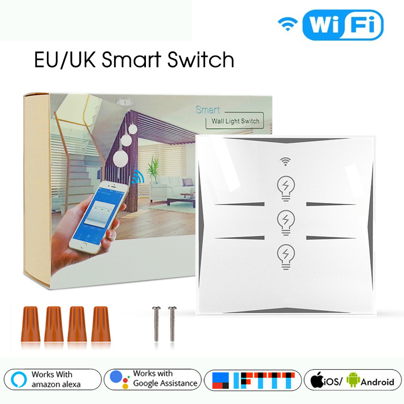 Wifi Smart Wall Touch Switch EU Power Mobile APP Remote Control Works With Amazon Alexa Google Home IFTTT 3CH No Hub Required