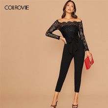 COLROVIE Black Off Shoulder Lace Bodice Self Belted Jumpsuit Skinny Sheer Jumpsuits Women 2019 Autumn High Waist Long Jumpsuits(China)