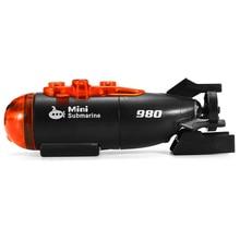 Мини микро-Радио пульт дистанционного управления RC Подводная лодка с Led светильник игрушка подарок