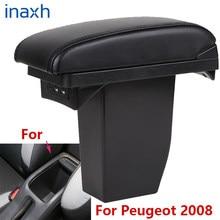 Para peugeot 2008 caixa de apoio braço peças retrofit carro especial braço centro caixa armazenamento acessórios do carro interior especial com usb