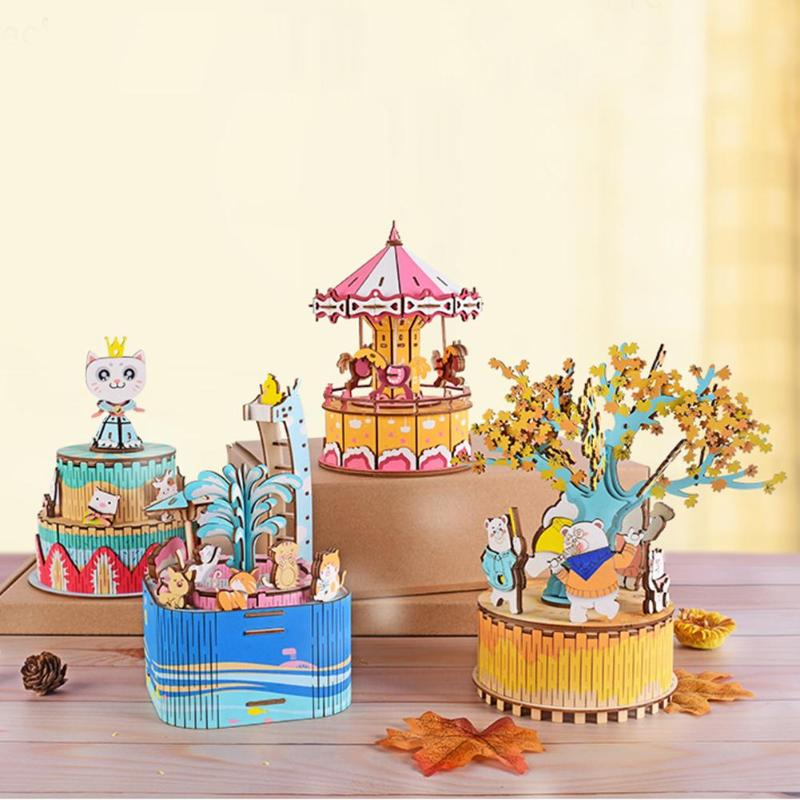 DIY Wood Music Box Cartoon Features Carousel Birthday Gift Toy With Machine Core Home Decoration Music Box Gifts For Birthday
