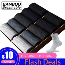 Meias de compressão para homens, 10, pares/lote homens, fibra de bambu, respirável, social, casual, tamanho grande 38 45