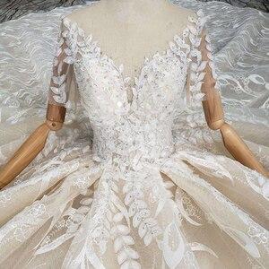 Image 4 - BGW HT4292 dantel düğün elbisesi yaprak şekli aplike o boyun tavuskuşu tarzı prenses gelin elbiseleri kız Vestidos De Novia 2020