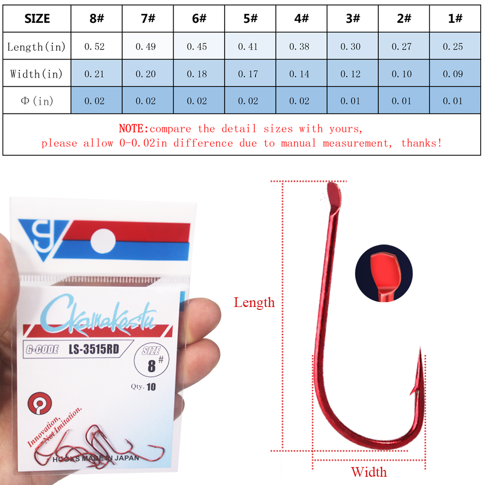 10pcs/lot Sode Red  Fishing Hooks  1#-8# Non-barbed High  Barbed  Carbon Steel Sharpened Bait Tackle Strong Gamakatsu